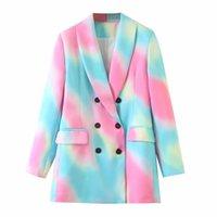 Klacwaya capa de las mujeres de manga larga de la vendimia 2020 Blazers de pecho doble de la manera Tie-dye Bolsillos Mujer Prendas de abrigo Chic Tops