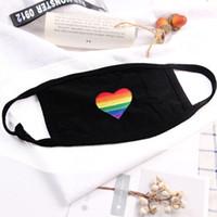 Gökkuşağı Kalp Maskeler Yeniden kullanılabilir Toz Gökkuşağı Bar Moda Pamuk Tek Yeniden kullanılabilir Ağız Maskesi DHL DHF330 Maskesi