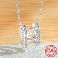 Простой стиль 925 серебро Цирконий Письмо H Ожерелья Подвески серебро Мода ювелирные изделия для женщин с короткой цепью D108