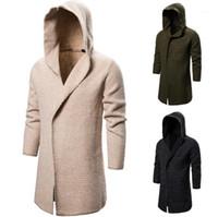 Пальто новых людей конструктора одежды Mens Сплошной цвет свитера кардигана вскользь с длинным рукавом с капюшоном Длинные Вязание
