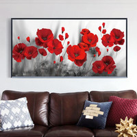 Arte moderna da parede da lona Pintura Posters Red Poppy Flowers Wall Art and Prints Pictures para sala de estar Início Cuadros Decor