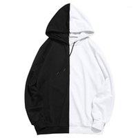 Hommes Hoodies hiver capuche à capuche Homme Noir Streetwear Patchwork manches longues Sweat-shirt à capuche One Piece Casual