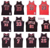 남성 여성 청소년 S-6XL 농구 유니폼 시카고황소23.마이클 91 Rodman 33 Pippen 25 Kerr 7 Kukoc Mitchell Ness 1995-96 경재 고전 Retro Jersey