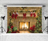 Traum 7x5ft Weihnachten Kamin Hintergrund Weihnachtsbaum Geschenke Dekor Fotografie Hintergrund für Weihnachten Thema Holiday Party Shoot Studio Requisite