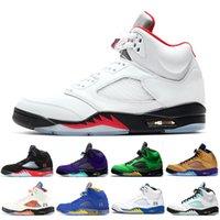 Discount Fire Red 2020 5 5s Hommes Chaussures montantes de basket-ball Fresh Prince Metallic Silver Oreo Hommes chaussures de sport en plein air les plus récentes chaussures de sport