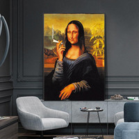 Fumo engraçado Mona Lisa Pintura a óleo Famous Art Canvas Pintura de parede Art Pictures para Living Room Home Decor (No Frame)