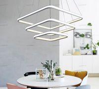 قلادة الثريات مربع ضعف توهج الصمام أضواء الحديثة الألومنيوم شنقا الثريا الأبيض لتناول الطعام المطبخ سطوع عالية الغرفة
