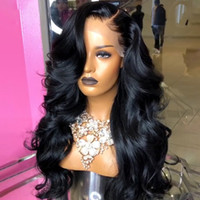 150% larga onda del cuerpo de 13x4 cordón del pelo humano frente Relación de pelucas para las mujeres Natural desplumados Remy brasileño Medio blanqueado Slove pelo