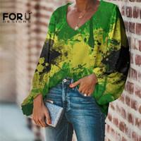 FUTESIENSIGNES DE GRANDE TAILLE FEMMES CHIFFON chemisier Jamaica Drapeau Impression Graffiti Art Casual Lâche Longue manches sexy V cou Vogue chemises