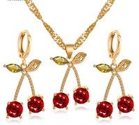 2020 Новый Кристалл Вишневый комплект ювелирных изделий для Sets Свадебные Свадебные украшения позолоченным Red Cherry кулон серьги ожерелье