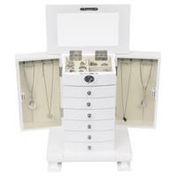 خمر النمط الأوروبي مجلس الوزراء خلط الملابس الجدول اليدوية مربع مجوهرات تخزين مربع، خشبي 7 طبقات، مع 6 أدراج، أبيض