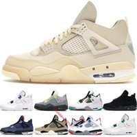 Top Jumpman 4 4S White Sail Basketball Shoes para Homens Sneakers Neon Metálico Verde Winterized Loyal Blue Black Cat 2020 Treinadores Tamanho 40-47