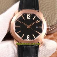 Melhor versão BVF OCTO Roma 101963 Black Dial Japão Miyota 9015 Automatic 102705 102702 Mens Watch 18K Caso Rose Gold couro Desporto Relógios
