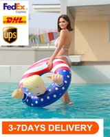 US Stock 2020 Election Trump Bouée gonflable Flotteurs Thicken Cercle Drapeau Bouée Float pour adultes Summer Pool Party DHL Expédition