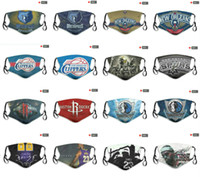 Mode de luxe de 5 couches Reproductibles masque facial All-Star équipe Rockets Lakers Mavericks Grizzlies No.24 James 23 Dust Mask