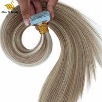 Brown Blonde Mix Color Piano Color Human Hair Bundles Silky Straight Tape in Hair Skin Weft Hair Extensions 8-26inch 100gram 40pcs a pack