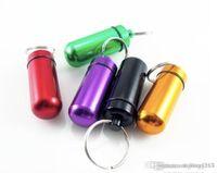 방수 알약 케이스 키 체인 의학 저장 상자 알약 컨테이너 담배 병 홀더 허브 왁스 컨테이너 합금 휴대용 싼 알루미늄