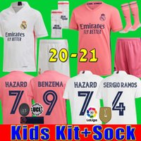 real Madrid kids set sock soccer jerseys 20 21 HAZARD JOVIC ...