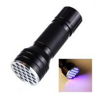 21 LED Torcia UV lampada UV Torcia 3A Batteria Torcia Luce luce viola Blacklight Per Marker Checker Detection DLH437