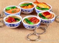 Mischarten Chinesische blaue und weiße Porzellan-Schüssel Speisen Mini Beutelanhänger Simulation Lebensmittel Schlüsselanhänger Nudeln kreatives Keychain J117