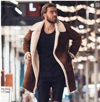 2020 Kış Erkek Kürk Fleece Yeni Moda Trençkot Palto Erkek Yaka Sıcak Kabarık Uzun Stil Katı Ceket Dış Giyim Boyut 3XL