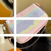 بيع مصمم ESCALE POCHETTE ACCESSOIRES M69269 المرأة البسيطة الفاصل الأفاق حقيبة مع سلسلة حقائب التعادل جديد صبغ العملاق السلسلة الصغيرة