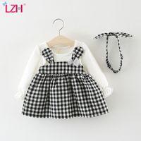 LZH 2020 Meninas Outono vestido xadrez com orelhas bonito cabelo Hoop Bebés Meninas Vestem-nascidos roupas de festa algodão Roupa Crianças