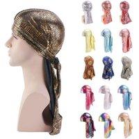 Colorful Sparkly Durags Turbante Bandane Uomo lucidi serici Durag Headwear fasce di copertura dei capelli dell'onda Caps 24 colori