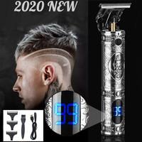 Display LCD Clipper per capelli 1500mAh Carica USB Potente 0-3mm T-Outliner Cordless taglio di capelli trimmer per uomo Professional Barber Baldheadhed Rasoio