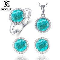 Ювелирные наборы GZ Параиба турмалин Бриллиантовые для женщин Real 925 стерлингового серебра серьги кулон ожерелье Кольца Комплект для Promise