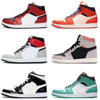 nike air jordan 1 off white retro 1 Jumpman Chicago negros 1s Toe mulheres dos homens Tênis de basquete 1 UNC OG Luz fumaça Hot venda Pine verdes formadores Sneakers