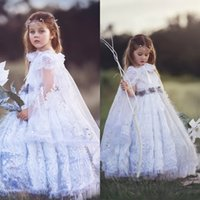 2020 New Flower Girls Dresses for Wedding Appliqued Tulle Girls Pageant Dress with Manteau Floor-Length Sequins Kids Formal Wear