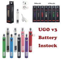 Vape Pen 510 Thread Battery UGO-V3 Preheating Batteries 650mAh Instock Adjustable Voltage USB Charger Box Packaging E Cigarettes Battery