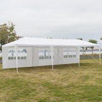 가족 파티 텐트 그늘 야외 결혼식 텐트 휴대용 가정 정원 차 천막 3 x 9m 5면 방수 나선형 튜브