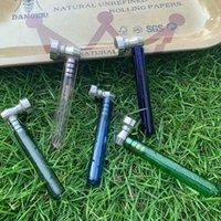 Cam Duman Borusu ile Temizle Kolu 93mm Metal Kase Ile Mini Stil Cam El Kaşığı Borular Tütün Boru DAB Aracı Aksesuarları
