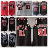 # 91 Dennis Rodman Throwback Authentic Red Mens Chicago