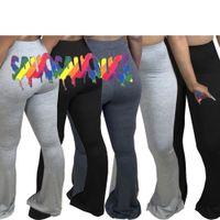Женские брюки симпатичные сексуальные бедра печатные трубы труба плюс размер мода падение зимняя одежда вспыхнутые брюки повседневные тощие штаны H86