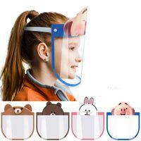 ABD Stok DHL Çocuklar Karikatür Yüz Shield Temizle Şeffaf Koruyucu toz geçirmez Anti-Fog Tam Yüz Shield Kapak Anti Toz PET Visor Maske