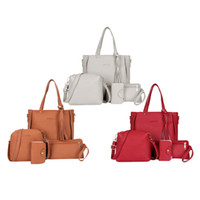 3x Four- piece fringed suit for handbag Red + Gray + Brown