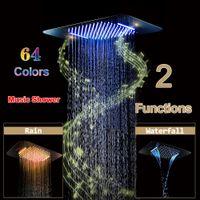 Ducha de Bluetooth de la música LED Cabeza de acero inoxidable baño cascada de ducha encastrada en el techo montado en la lluvia duchas color oro