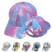 Tie Dye Ponytail Hat 6 couleurs Criss Cross ajustable été Snapback Caps Sports de plein air bobs LJJO8245