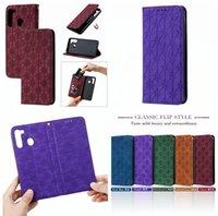 Trèfle magnétique Emboss en cuir pour Samsung S20 FE A21 A31 A41 A51 A21S 5G A71 M11 M31 M30S Xiaomi POCO X3 NFC stand ID Card Phone Cover