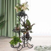 Ev Dekor 4 Saksı Yuvarlak Çiçek Metal Raflar Bitki Dekorasyon Kapalı Açık Bahçe Siyah Moda Pot STAND ABD STOK