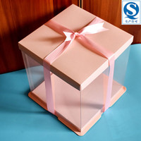 KCCB الأزرق البلاستيك الشفاف كعكة مربع كعكة مربع مخصص واضح الديكور مهرجان عيد ميلاد