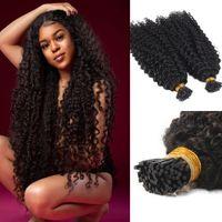 AFRO Kinky Curly I Tip Human Hair Extension Virgin Brasilianischer Keratin Pre Conded Stick Mikrolinks Itip Natürlich Schwarz 100g