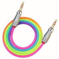 1m cavo audio da 3,5 mm a 3,5 millimetri arcobaleno Bamboo rame Shell Aux cavo maschio a maschio Car Aux cavo per iPhone Samsung Xiaomi