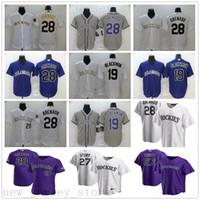 2020 novo beisebol 28 nolan arenado jerseys costurado 19 charlie blackmon 27 Trevor história melhor qualidade ouro branco roxo camisas