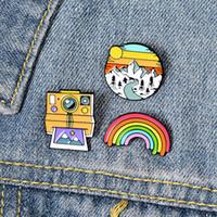 Rainbow Mountain Cute small divertenti smalto Spille Pins per le donne Demin shirt Jewelry Decor Spilla Pin metallo Kawaii distintivo di modo