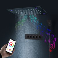 24 Inches Bluetooth Music Shower Head Colorful LED Multi function Shower Head Set Bathroom Playing Music Shower Faucet set