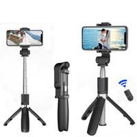 Bluetooth selfie Stick con treppiede in lega di plastica Auto Stick Selfiestick Smartphone selfie-Stick per Iphone Samsung Huawei